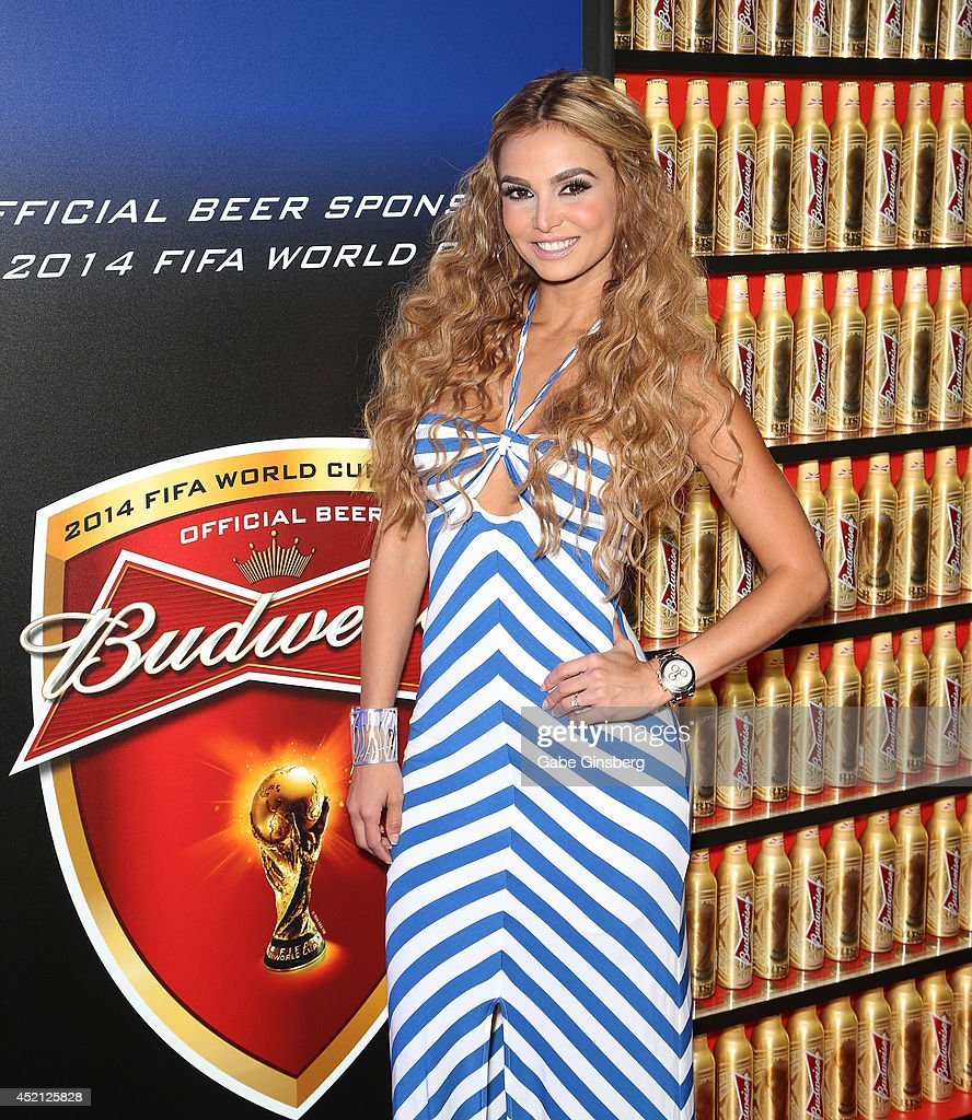 Las Senadoras Carolina MaCallister arrives at FIFA World Cup Finals Bud Light and Budweiser VIP Party at the Palms Casino Resort on July 13, 2014 in Las Vegas, Nevada.