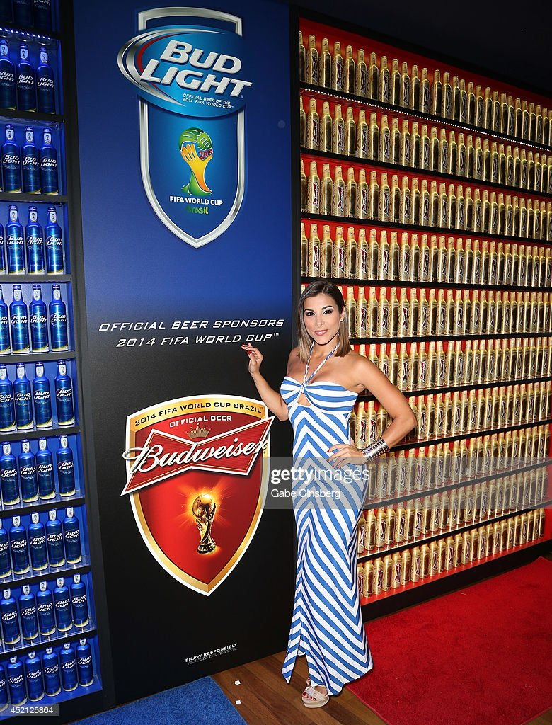 Las Senadoras Natalia Saenz arrives at FIFA World Cup Finals Bud Light and Budweiser VIP Party at the Palms Casino Resort on July 13, 2014 in Las Vegas, Nevada.