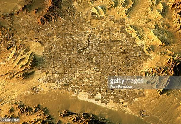 ラスベガス 3D地形の眺め North に乗り、South 自然色