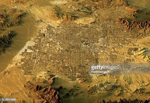 ラスベガス 3D地形の眺め West を進み、自然色