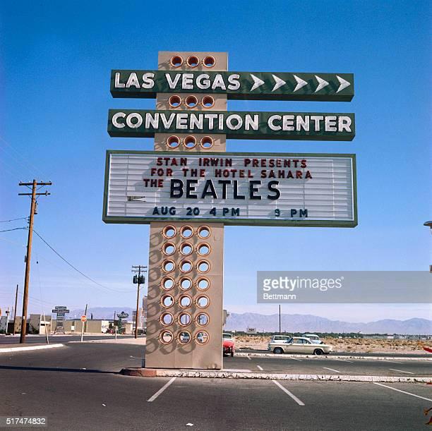 Las Vegas Convention Center's billboard advertising two performances by English rock 'n' roll sensations the Beatles The concerts are scheduled for 4...