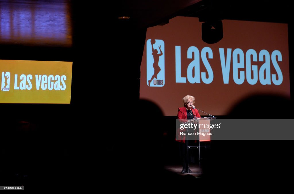 Mayor of Las Vegas Carolyn Goldmark Goodman speaks during a news conference as the WNBA and MGM Resorts International announce the Las Vegas Aces as the name of their franchise at the House of Blues Las Vegas inside Mandalay Bay Resort and Casino on December 11, 2017 in Las Vegas, Nevada. In October, the league announced that the San Antonio Stars would relocate to Las Vegas and begin play in the 2018 season at the Mandalay Bay Events Center.