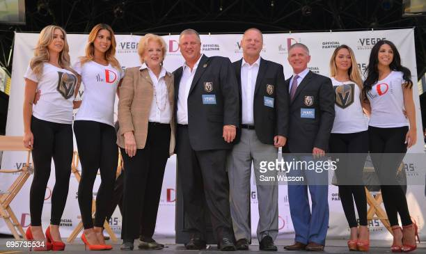 Las Vegas Mayor Carolyn Goodman the D Las Vegas CEO Derek Stevens Vegas Golden Knights head coach Gerard Gallant and Vegas Golden Knights President...