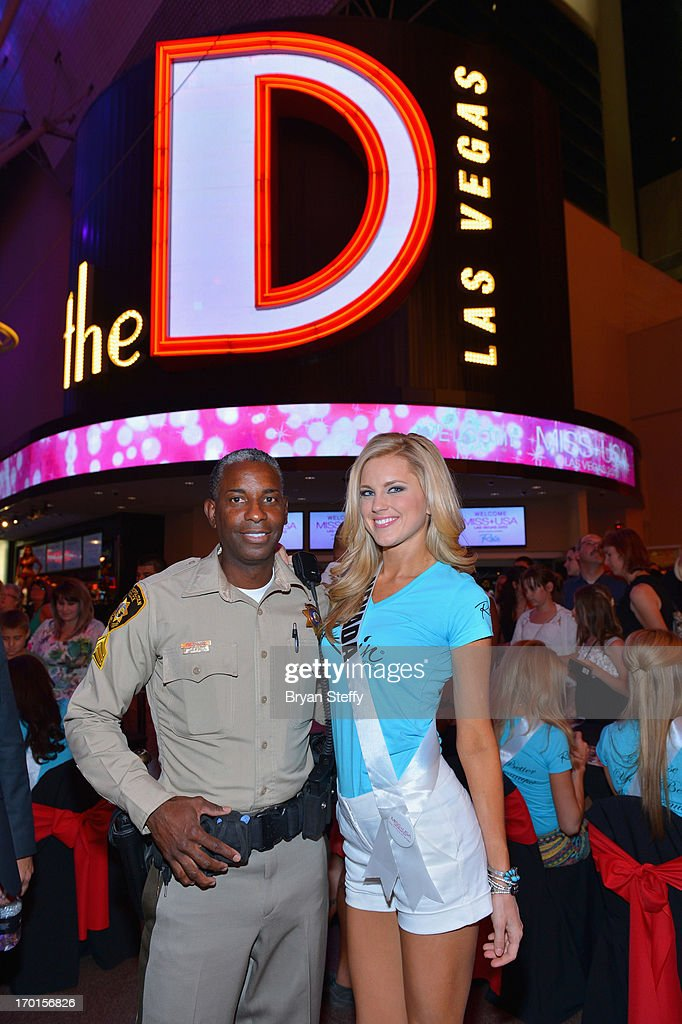 Las Vegas Metropolitan Police Sergeant and television personality Tom Jenkins and Miss Nevada USA Chelsea Caswell appear at the Miss USA contestant...