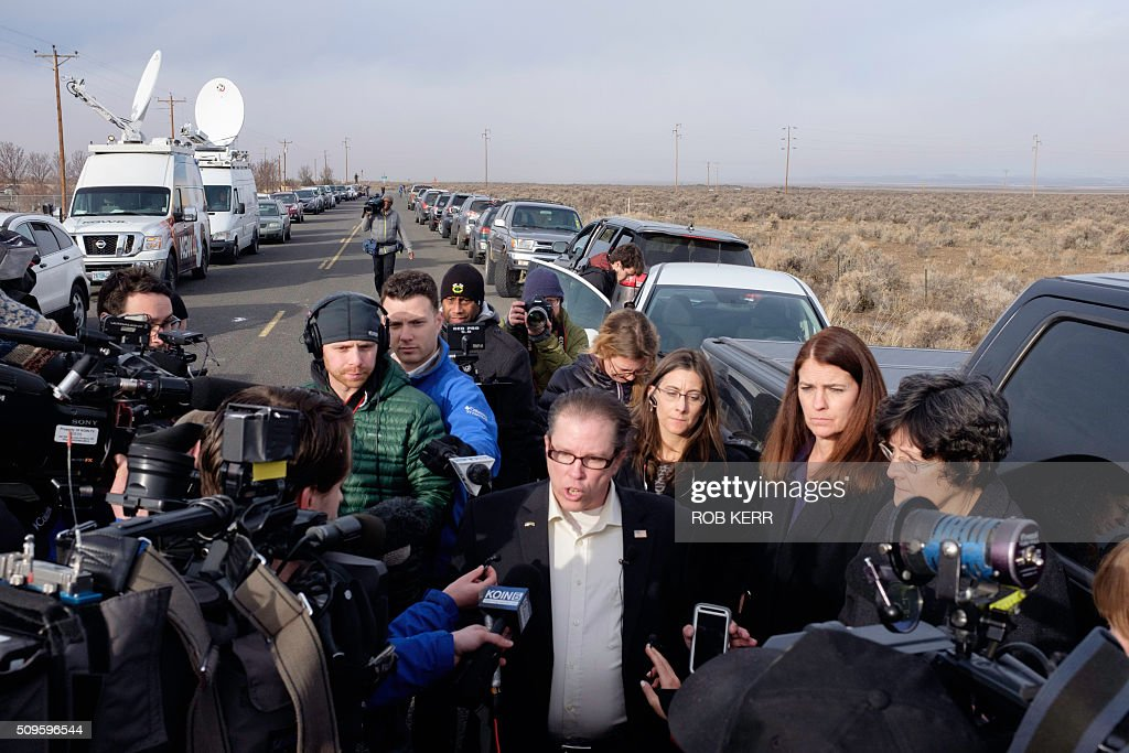 Las Vegas, Nevada Assemblyman John Moore answers questions for the media Thursday morning near the Malheur Wildlife Refuge Headquarters near Burns, Oregon, on February 11, 2016. Several different state legislators came together for the final day of a 41-day occupation of the federal wildlife refuge that concluded with the arrest of a final four occupants. / AFP / Rob Kerr