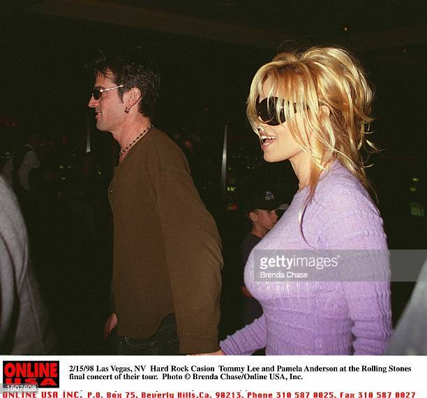 Las Vegas NV Hard Rock Cafe Tommy Lee and Pamela Anderson at the final concert of the Rolling Stones tour