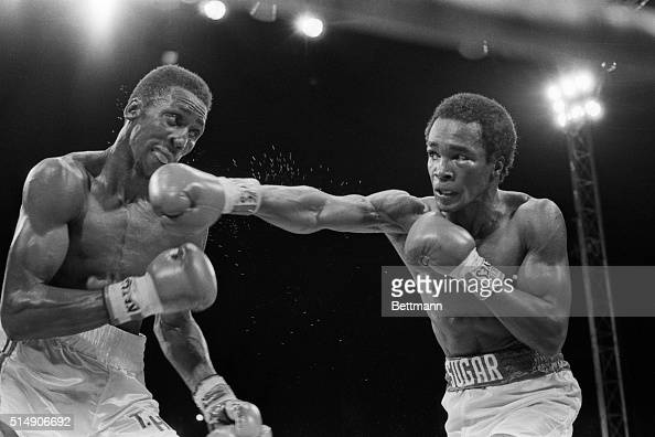 9/17/1981 Las Vegas NV Welterweight champs Tommy Hearns and Sugar Ray Leonard trade long jabs 9/16 Leonard won the undisputed claim to the title