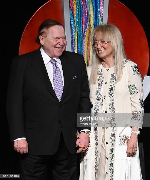 Las Vegas Sands Corp Chairman and CEO Sheldon Adelson and his wife Dr Miriam Adelson attend a fundraising dinner for the UNLV Foundation at the...