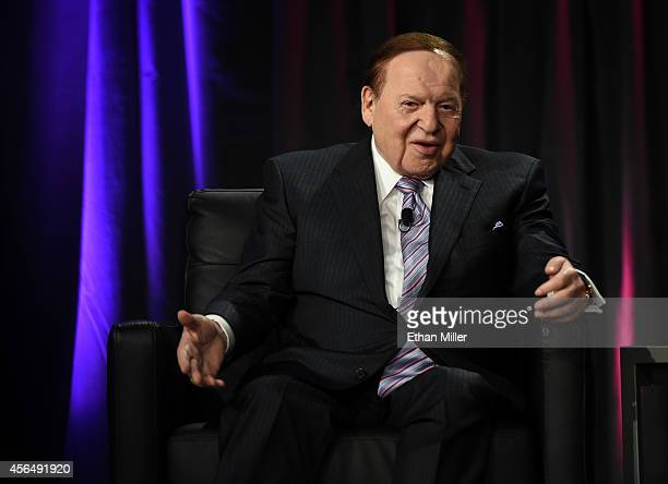Las Vegas Sands Corp Chairman and CEO Sheldon Adelson speaks at the Global Gaming Expo 2014 at the Venetian Las Vegas on October 1 2014 in Las Vegas...