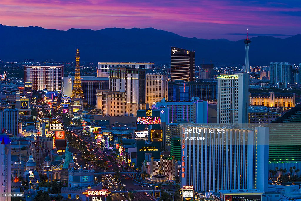 Las Vegas skyline and the Strip at dusk