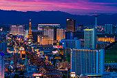 Las Vegas skyline and the Strip at dusk