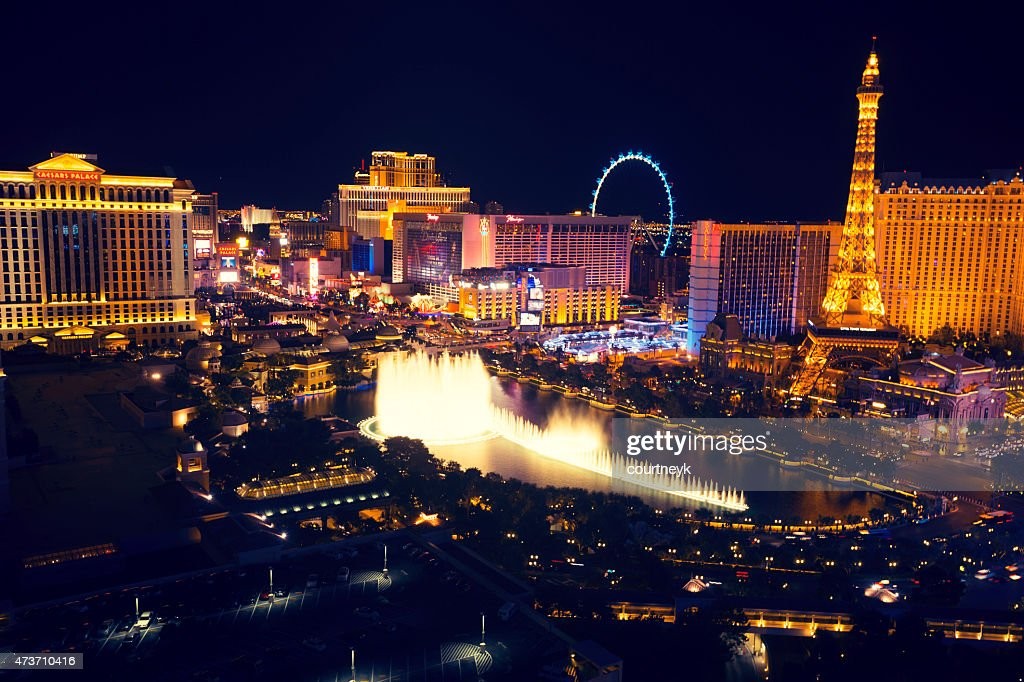 Las Vegas strip at night with Bellagio Fountain. : Stock Photo
