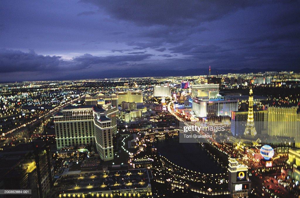 Las Vegas strip at night with dark blue sky, aerial view : Stock Photo