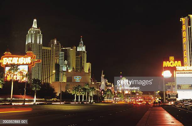 Las Vegas strip at night with empty road