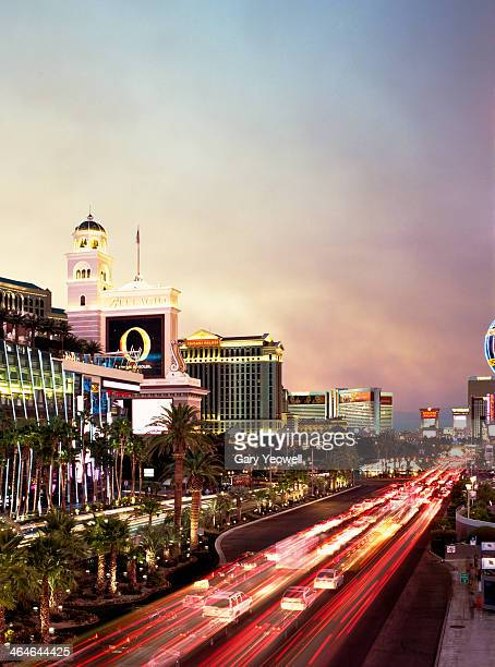 Las Vegas Strip with car trails at dusk