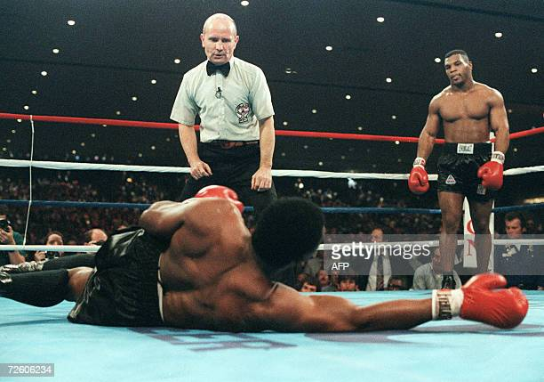 A file picture taken 22 November 1986 in Las Vegas shows Mike Tyson during his fight against heavyweight champion Trevor Berbick to become the...