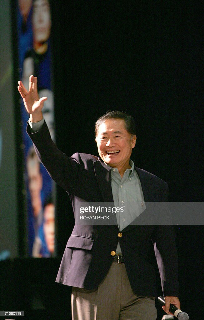 <a gi-track='captionPersonalityLinkClicked' href=/galleries/search?phrase=George+Takei&family=editorial&specificpeople=1534988 ng-click='$event.stopPropagation()'>George Takei</a> who portrayed Mr Sulu, greets fans with the 'Live Long and Prosper' Vulcan hand sign at the Star Trek convention in Las Vegas, Nevada, 19 August 2006. Thousands of fans beamed into Las Vegas this weekend to celebrate the 40th anniversary of Star Trek, the enduring science fiction television franchise whose cult appeal transcends boundaries of space and time. AFP PHOTO / Robyn BECK