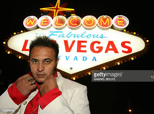 Rocky Gobrait age 32 from Tahiti French Polynesia poses on the Las Vegas Boulevard before the Elvis Presley lookalike contest in Las Vegas Nevada 11...
