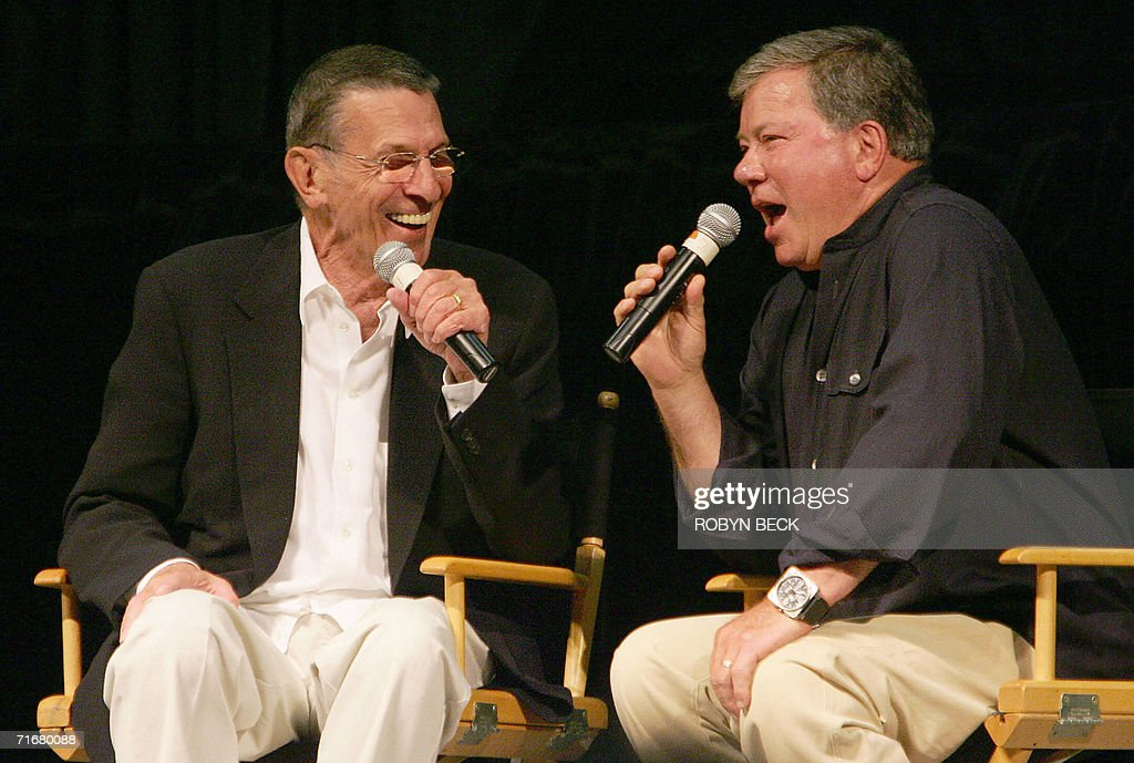 William Shatner (R) and <a gi-track='captionPersonalityLinkClicked' href=/galleries/search?phrase=Leonard+Nimoy&family=editorial&specificpeople=216431 ng-click='$event.stopPropagation()'>Leonard Nimoy</a> (L), the actors who portrayed Capt James T Kirk and Science Officer Mr Spock respectively in the original Star Trek television series, recall memories of filming the show 40 years ago, at the Star Trek convention in Las Vegas, Nevada, 19 August 2006. Thousands of fans beamed into Las Vegas this weekend to celebrate the 40th anniversary of Star Trek, the enduring science fiction television franchise whose cult appeal transcends boundaries of space and time. AFP PHOTO / Robyn BECK