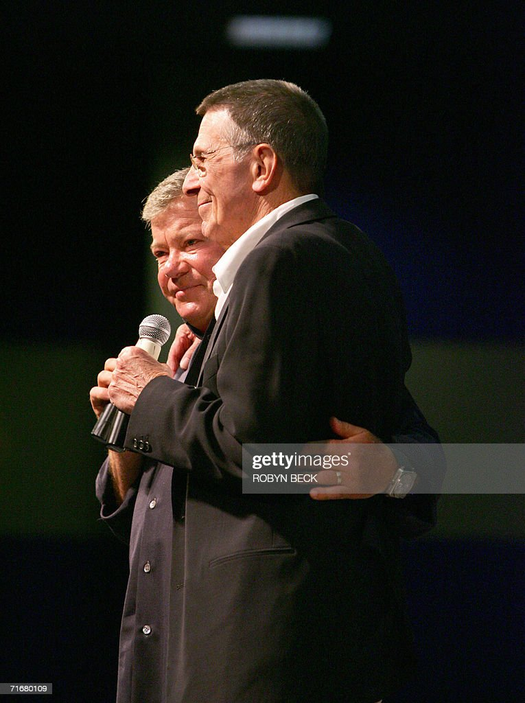 William Shatner (L) and <a gi-track='captionPersonalityLinkClicked' href=/galleries/search?phrase=Leonard+Nimoy&family=editorial&specificpeople=216431 ng-click='$event.stopPropagation()'>Leonard Nimoy</a> (R), the actors who portrayed Capt James T Kirk and Science Officer Mr Spock respectively in the original Star Trek television series, recall memories of filming the show 40 years ago, at the Star Trek convention in Las Vegas, Nevada, 19 August 2006. Thousands of fans beamed into Las Vegas this weekend to celebrate the 40th anniversary of Star Trek, the enduring science fiction television franchise whose cult appeal transcends boundaries of space and time. AFP PHOTO / Robyn BECK