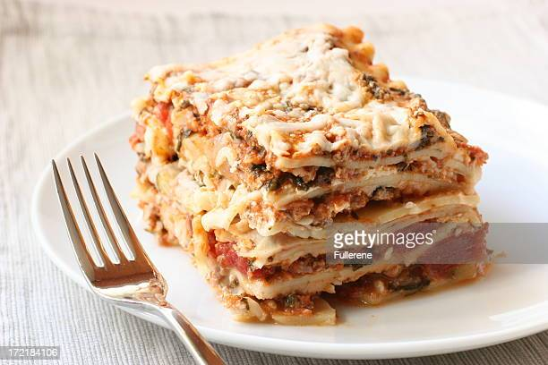 lasagna with fork