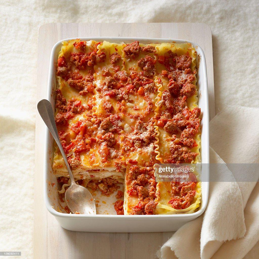 Lasagna with turkey sausage : Stock Photo