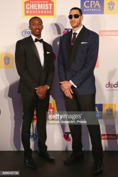 Lasan Kromah and Josh Boone of Melbourne pose during the 2017 NBL MVP Awards Night at Peninsula on February 13 2017 in Melbourne Australia