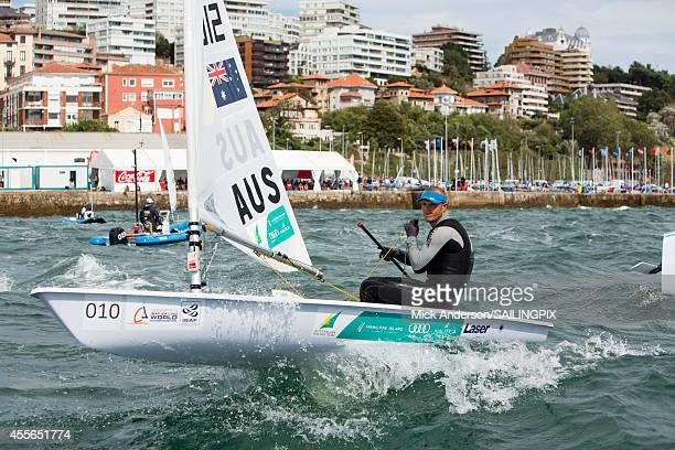 Laser AUS199012 Tom Burton loses his World Champion gold medal in the medal race during Day 7 of the 2014 ISAF Sailing World Championships on...