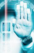Laser beam beside hand scanner