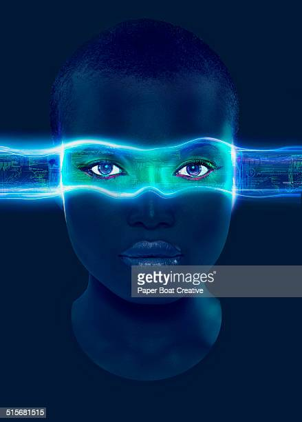 laser beams with data passing through the eyes