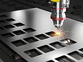 laser cutting machine 3d rendering