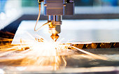 Laser cutting metal sheet with sparks flying