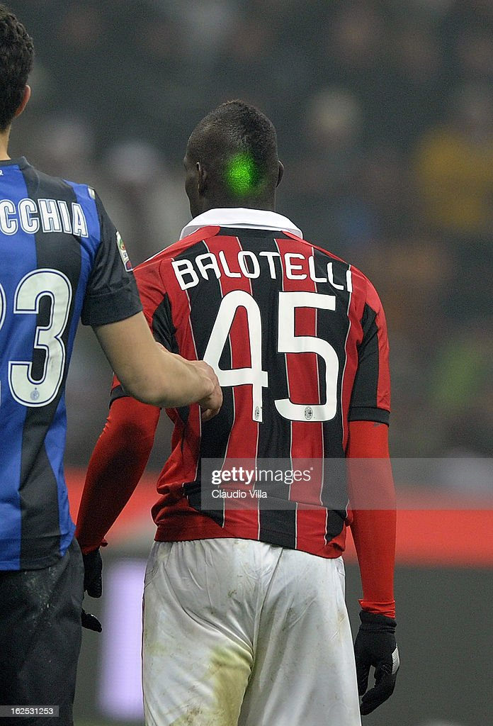 Laser focused on <a gi-track='captionPersonalityLinkClicked' href=/galleries/search?phrase=Mario+Balotelli&family=editorial&specificpeople=4940446 ng-click='$event.stopPropagation()'>Mario Balotelli</a> of AC Milan during the Serie A match FC Internazionale Milano and AC Milan at San Siro Stadium on February 24, 2013 in Milan, Italy.
