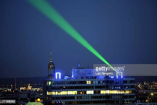 A laser in a blue goal during the FIFA World Cup Blue Goal Laser Show on June 9 2006 in Hamburg Germany
