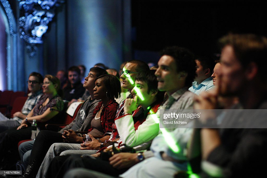 A laser light passes across the audience at the Ubisoft press conference on the eve of the Electronic Entertainment Expo (E3) on June 4, 2012 in Los Angeles, California. E3 is the most important yearly trade show the $78.5 billion videogame industry.