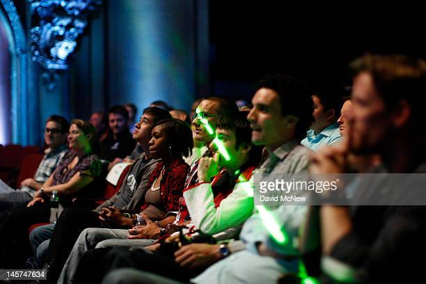 A laser light passes across the audience at the Ubisoft press conference on the eve of the Electronic Entertainment Expo on June 4 2012 in Los...