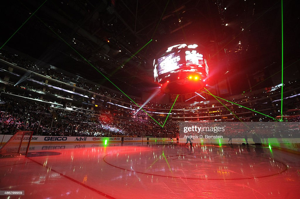 Laser lights are emitted across the arena during an intermission of Game Three of the First Round of the 2014 Stanley Cup Playoffs between the San Jose Sharks and the Los Angeles Kings at Staples Center on April 22, 2014 in Los Angeles, California.