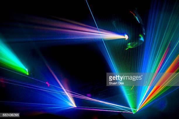Laser lights at dance music concert