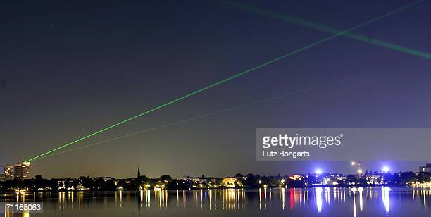 A laser over the lake alster during the FIFA World Cup Blue Goal Laser Show on June 9 2006 in Hamburg Germany