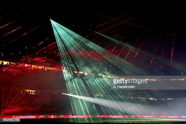 Laser show after the Bundesliga match between FC Bayern Muenchen and SC Freiburg at Allianz Arena on December 16 2014 in Munich Germany