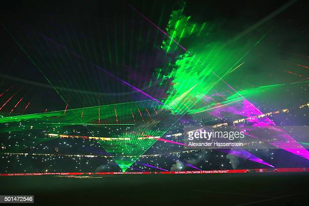 A laser show after the round of 16 DFB Cup match between FC Bayern Muenchen and Darmstadt 98 at Allianz Arena on December 15 2015 in Munich Germany