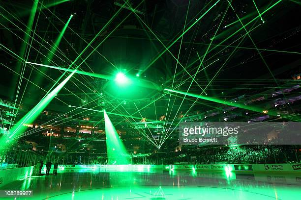 A laser show preceeds the game between the Los Angeles Kings and the St Louis Blues at the Staples Center on January 13 2011 in Los Angeles California