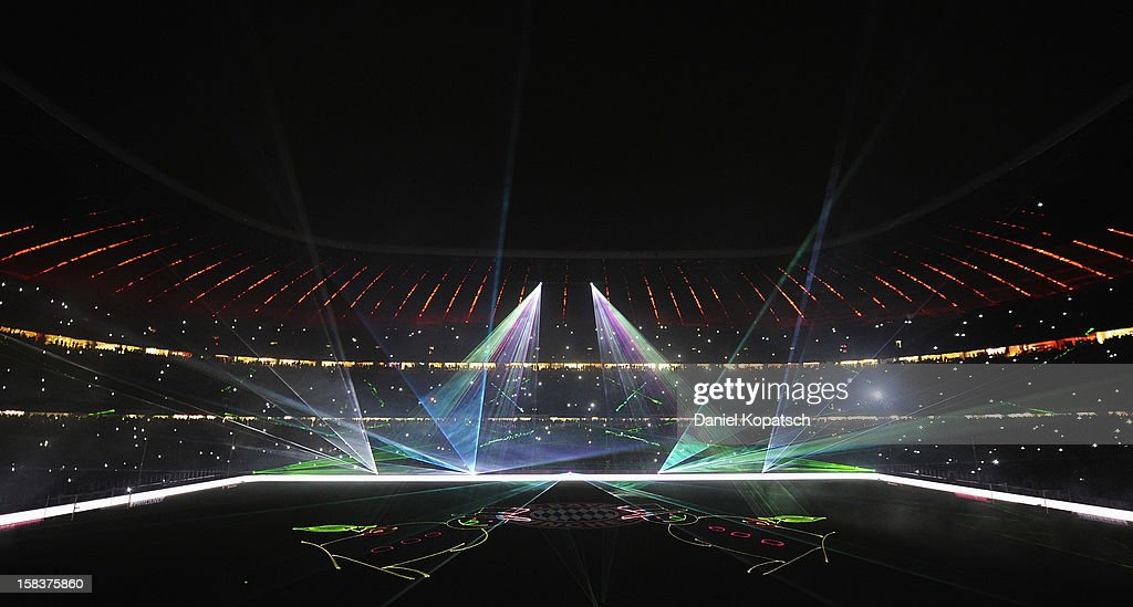 A laser show takes place after the Bundesliga match between FC Bayern Muenchen and VfL Borussia Moenchengladbach at Allianz Arena on December 14, 2012 in Munich, Germany.