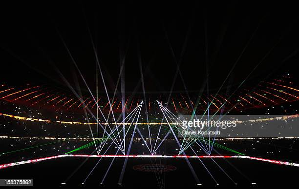 A laser show takes place after the Bundesliga match between FC Bayern Muenchen and VfL Borussia Moenchengladbach at Allianz Arena on December 14 2012...