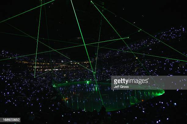 Lasers are seen inside Staples Center prior to the start of the game between the Los Angeles Kings and the San Jose Sharks in Game Two of the Western...