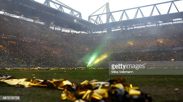 Lasershow after the Dede's farewell match at Signal Iduna Park on September 5 2015 in Dortmund Germany