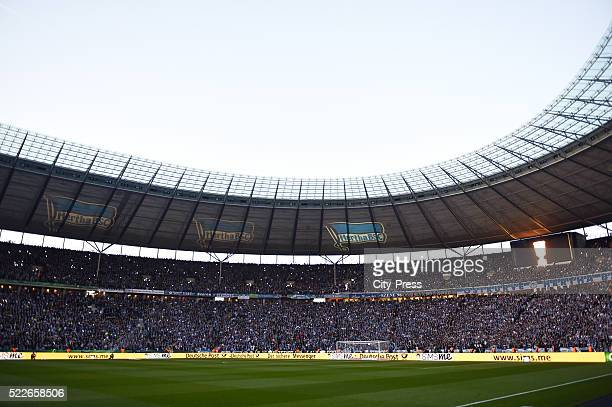 Lasershow before the match between Hertha BSC and Borussia Dortmund at Olympiastadion on April 20 2016 in Berlin Germany