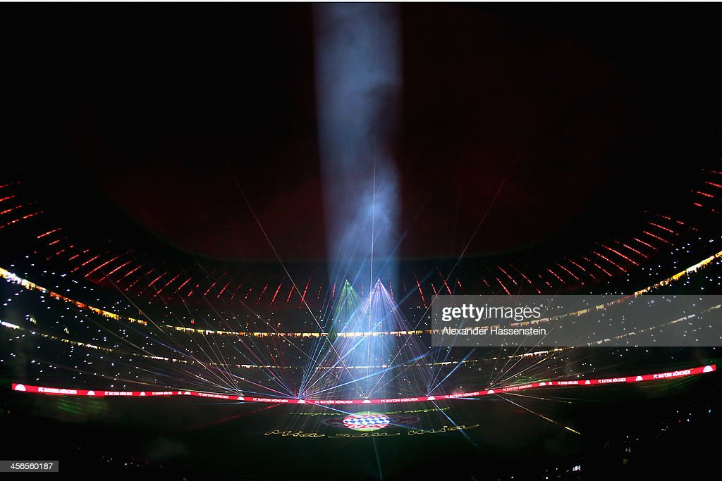 A lasershow is seen after the Bundesliga match between FC Bayern Muenchen and Hamburger SV at Allianz Arena on December 14, 2013 in Munich, Germany.