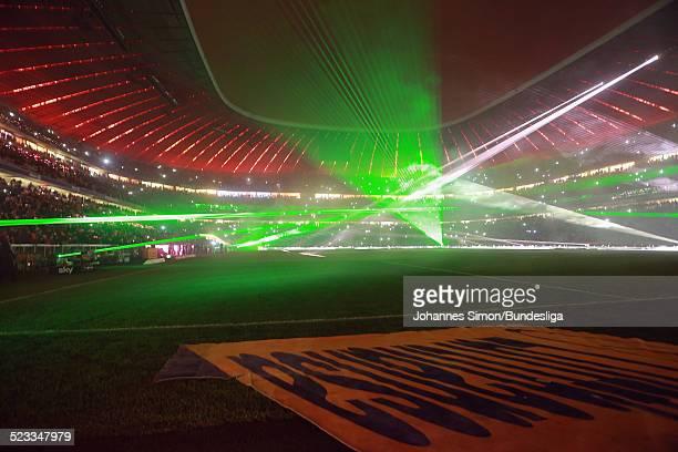 LaserShow nach dem BundesligaSpiel FC Bayern Muenchen gegen Borussia Moenchengladbach am 14 Dezember 2012 in der Muenchner AllianzArena