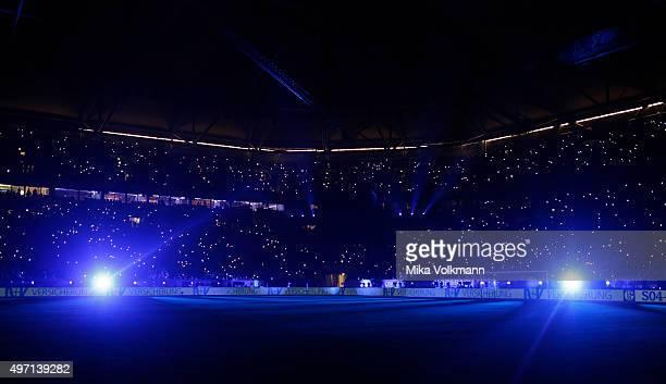 Lasershow prior the Gerald Asamoah's Farewell Match at VeltinsArena on November 14 2015 in Gelsenkirchen Germany